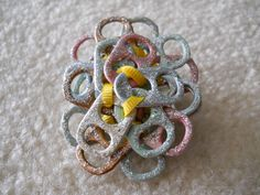 Original, Handmade Tab Pin with Ribbon and Glitter Glue  Size - 2 1/4 x 2 1/2""