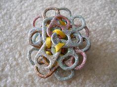 "Original, Handmade Tab Pin with Ribbon and Glitter Glue  Size - 2 1/4 x 2 1/2"""