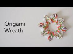 Origami Wreath, Origami Stars, Diy Origami, Origami Tutorial, Wreath Tutorial, Origami Paper, Diy Paper, Paper Crafts, Paper Dahlia
