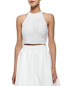 Grenada+Sleeveless+Beaded+Crop+Top++by+Parker+Black+at+Neiman+Marcus.