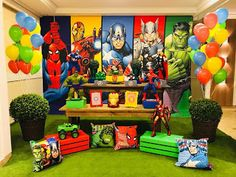Superman Birthday Party, Avengers Birthday, Superhero Party, 3rd Birthday Parties, 4th Birthday, Avengers Party Decorations, Birthday Party Decorations, Party Themes, Gaspard