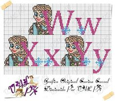 TOALHAS IN E CIA: Monograma da Frozen Ana Frozen, Loom Patterns, Cross Stitch Patterns, Cross Stitch Alphabet, Le Point, Letters And Numbers, Hama Beads, Kids Rugs, Lettering