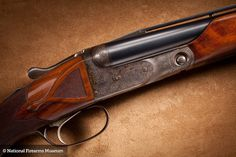 This Parker DH Grade shotgun was made for famed actor and expert shot gunner Robert Stack, in the last production run of Parkers prior to the start of World War II, the end of the Parker Shotgun manufacturing era. It is considered the last double gun made by Parker with raised vent rib barrels. Stock inlayed with RLS initials.