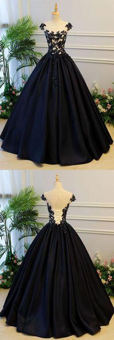 Generous A-Line Round Neck Black Satin Long Prom/Evening DressD30084#longpromdress#promdress#eveningdress#