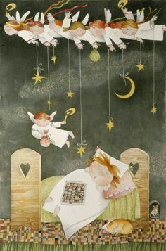 Good Night Greetings, Good Night Wishes, Art Wall Kids, Art For Kids, Crafts For Kids, Cherry Blossom Pictures, Angel Illustration, Angel Artwork, Birthday Wishes Quotes