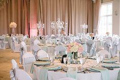 pink and mint wedding reception decor