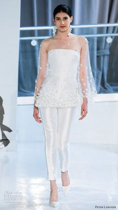 peter langner spring 2018 bridal strapless illusion jewel capelet straight across neckline simple clean sophiscated pants wedding dress (12) mv -- Peter Langner Spring 2018 Wedding Dresses #wedding #bridal #modern