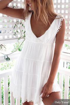 White V-neck Backless Design Mini Dress