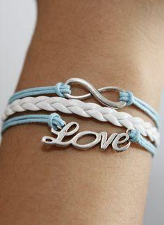 Love Karma silver braided white leather by kahdtfggeg on Etsy, $4.99