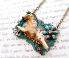 Appaloosa Art porcelain assemblage necklace by freerangeart, $65 - maybe make with the carved wooden animals.