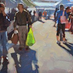 "Daily Paintworks - ""Bring Your Own Bag"" - Original Fine Art for Sale - © Carol Marine Cool Paintings, Beautiful Paintings, Cool Artwork, Building Painting, Naive Art, People Art, Portraits, Art Plastique, Fine Art Gallery"