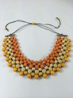 Spectacular Orange Yellow and Cream collar necklace @ www.dony-maree.com.au