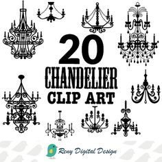 Chandelier Clip Art Instant Download Design Elements: www.etsy.com/listing/187850490/chandelier-clip-art-png-silhouettes-chic