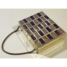 Steampunk Art Deco Purse Antique Vintage 1920s Golden Brass Geometric Square Metal Box Compact