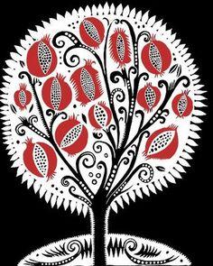pomegranate tree of life Graphic Artwork, Graphic Design Illustration, Granada, Pomegranate Art, Fruit Photography, Jewish Art, Linocut Prints, Autumn Trees, Art Forms
