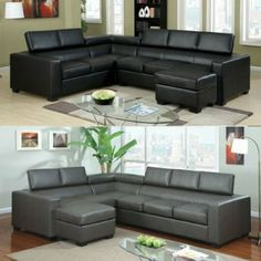 Amazon.com - Serres Contemporary Style Gray Bonded Leather Sectional Sofa Set