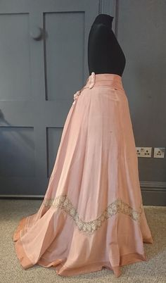 Candy Pink 1890s / 1900s Silk Skirt With Belt - Victorian / Edwardian Antique #SpecialOccasion