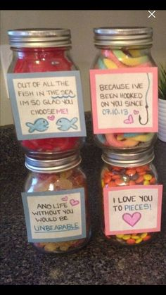 I love you gift for your loved one! It does not have to be a set of 4 but the set of 4 is sold for $15. Each jar has a different type of candy in it which relates to the quote printed outside of it. Head on over to check it out at my etsy shop jmariescraftroom