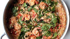 Plein la bouche - orzo aux crevettes, feta et épinards