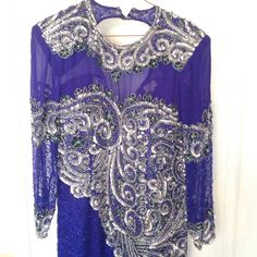 NIKHIL COLLECTION Exquisite VINTAGE Blue Silver Beaded Sequin Dress XL Pre-Owned