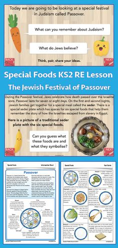 This lesson, which is part of PlanBee's 'Special Foods' KS2 RE scheme, teaches your children about the Jewish festival of Passover, and the particular foods associated with this celebration. As a class, you will read the story of the exodus from slavery in Egypt, and explore the festival of Passover. Children will look at what the foods on the seder plate symbolise, and how they relate to the Passover story. This Passover KS2 RE lesson includes a plan, slideshow and differentiated resources. Passover Story, Jewish Festivals, Importance Of Food, Eid Al Fitr, Yom Kippur, World Religions, Religious Education, Judaism, Religion
