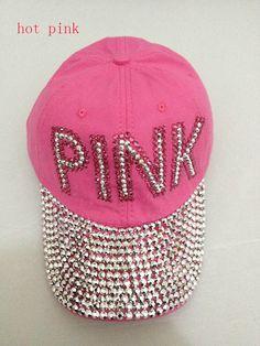 New Retail Diamond Point pink letters cotton denim pink caps women baseball  cap rhinestone cap girls Hat rhinestone print 30266db91f20