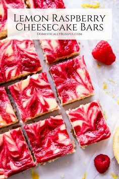 These refreshing Lemon Raspberry Cheesecake Bars are filled with vibrant flavors making it the perfect dessert for a summer party or family gathering. They are easy to make and even easier to eat. Mini Desserts, Summer Dessert Recipes, Easy Desserts, Delicious Desserts, Yummy Food, Lemon Raspberry Cheesecake, Raspberry Desserts, Raspberry Lemonade, Desserts With Raspberries
