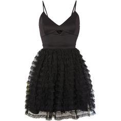 Lipsy Ariana Grande Sleeveless Cutout Fit & Flare Dress ($59) ❤ liked on Polyvore featuring dresses, black, women, lipsy dress, mesh v neck dress, mesh cut-out dress, v neck dress and sleeveless cocktail dress