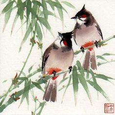 """travelers"" - Original Fine Art for Sale - © Jinghua Gao Dalia Japanese Ink Painting, Sumi E Painting, Chinese Painting, Japanese Art, Watercolor Paintings, Watercolors, Asian Artwork, Asian Paints, Bamboo Art"