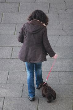 Francesca our neighbour trying to teach 'Boo' the Cocker Poo puppy to walk in a straight line!