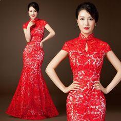 Paper cut inspired red lace mandarin collar floor length long qipao dress modern cheongsam wedding gown