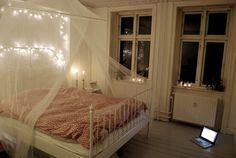 IKEA Leirvik Bed & Fairy lights. I regret not buying this bed.