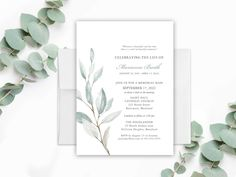 Celebration of Life Invitation, Funeral Announcement, Memorial Invitations Funeral Template Celebration of Life Greenery Printed | Digital