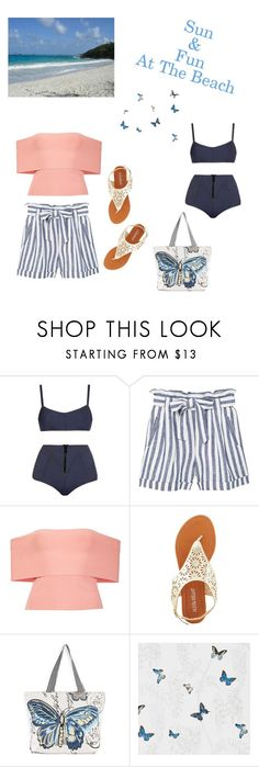 """""""Untitled #1428"""" by kimberlydalessandro ❤ liked on Polyvore featuring Lisa Marie Fernandez, MANGO, T By Alexander Wang, Olivia Miller, Riah Fashion and SANDERSON"""