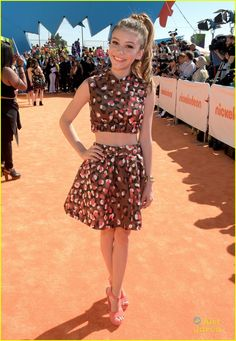 G Hannelius hits the orange carpet in a cute two piece at the 2015 Kids' Choice Awards held