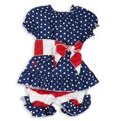 Baby Girl Navy Dot Red Stripe Sash Bloomer Set – Lolly Wolly Doodle