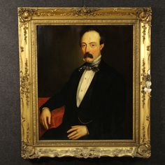 "Price: 1450€ French painting of the 19th century. Work oil on canvas depicting ""Portrait of a Gentleman"". Carved and gilded frame made by wood and plaster, with some minor loss of decorations on the right side, to be restored. Painting backed again which has undergone some restoration works and color recovery during the 20th century. #antiques #antiquariato Visit our website www.parino.it"