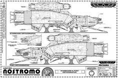 USCSS NOSTROMO - Exterior Blueprints from: Propsummit.com a Blade Runner Prop Community Forum BladeRunnerProps.com