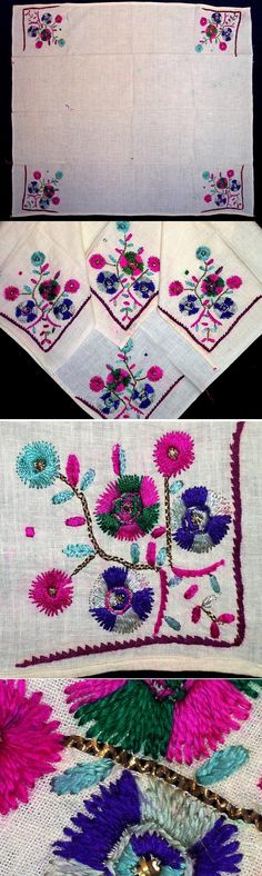 A 'çevre' (square kerchief; a decorative accessory, for the interior, but also used in costumes by both men and women).  From the rural Marmara region (west of Bursa), ca. 1950. Embroidery with polychrome silk on cotton & small areas in 'tel kırma' (motives are obtained by sticking narrow metallic strips through the fabric and folding them). Both techniques are 'two-sided' (identical on both sides).  (Inv.nr. brdw005 - Kavak Collection of Anatolian Textiles -Antwerpen/Belgium).