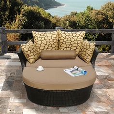 Shotiva Outdoor Furniture Two-piece Set with Love Seat and Ottoman