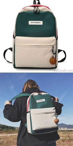 Unique High School Rucksack Student Bag Contrast Color Large Canvas Backpack #bag #Backpack #school #college Lace Backpack, Backpack Outfit, Laptop Backpack, Backpack Bags, Rucksack Bag, Laptop Bags, Messenger Bags, Unique Backpacks, Cute Backpacks