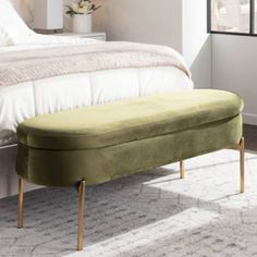 Modern Storage Bench, Bedroom Storage Bench, Living Room Lighting Tips, Green Velvet Fabric, Bed Bench, Dining Bench, King Beds, Storage Spaces, Small Storage