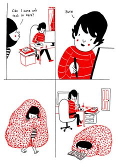 """makeuphall: """" 22 Heartwarming Illustrations Show That Love Is In The Small Things You can be in the same room without having to do everything together.. """""""