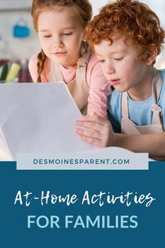 Are you on the hunt for at-home activities? With everything that is happening in our world today, you may be spending a lot more time at home with your children. Bookmark this gigantic list of things to do at home. Indoor Activities For Toddlers, Toddler Learning Activities, Hands On Activities, Preschool Activities, Mo Willems, Fun Crafts To Do, Things To Do At Home, Parenting Hacks, Families