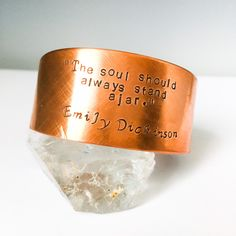 Excited to share this item from my #etsy shop: copper cuff bracelet. Quote bracelet. Emily Dickinson. The soul should always stand ajar.  Adjustable bracelet. Simple. Minimalist jewelry. Essential Oil Jewelry, Essential Oil Bottles, Diffuser Jewelry, Diffuser Necklace, Copper Cuff, Copper Jewelry, Etsy Jewelry, Jewelry Bracelets, Fabric Flower Pins