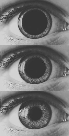 Eye, pupils, black and white, size, triptych, reflective, directional.