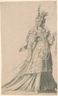 """Inigo Jones, Costume for """"The Masque of Queens"""", written by Ben Jonson, which was performed by the Queen and her ladies at Whitehall, 2 February 1609, Pierpont Morgan Library Acc. No. 1978.21"""