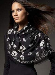 Iconic McQueen Skull Scarf...my obsession with wearing black and having endless scarves..I have in every color :)