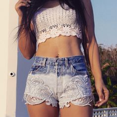High waisted denim shorts with lace Levis ombre Dip dyed Boho Bohemain Hipster Festival clothing by Jeansonly by Jeansonly on Etsy https://www.etsy.com/listing/220191726/high-waisted-denim-shorts-with-lace