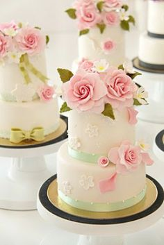 Gorgeous Wedding Cakes with Vintage Pink Edible Sugar Rose by Cakes Haute Couture